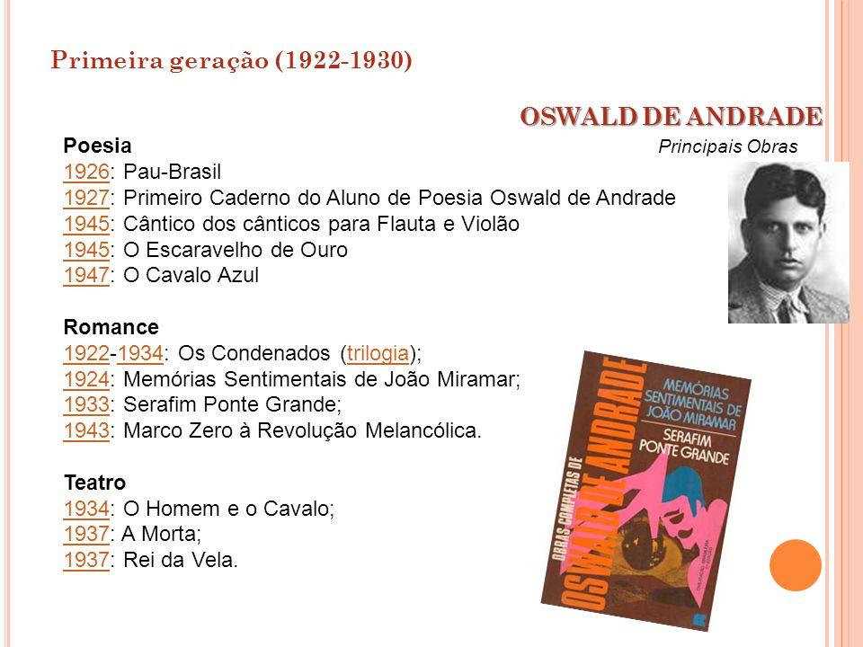 Primeira geração (1922-1930) OSWALD DE ANDRADE Poesia 1926: Pau-Brasil