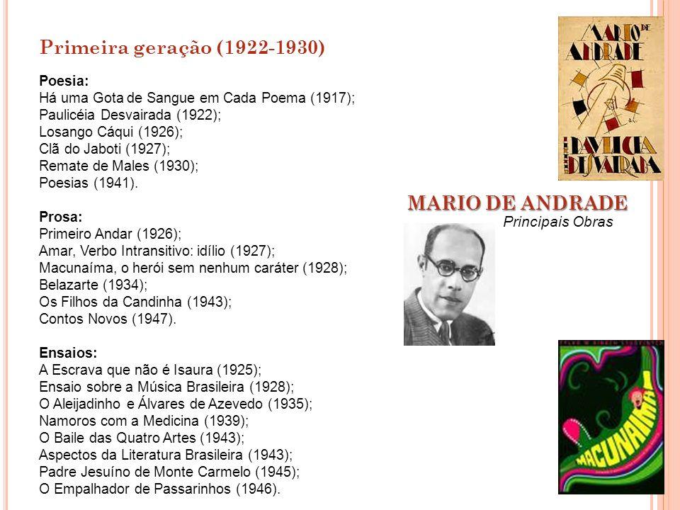 Primeira geração (1922-1930) MARIO DE ANDRADE Principais Obras Poesia: