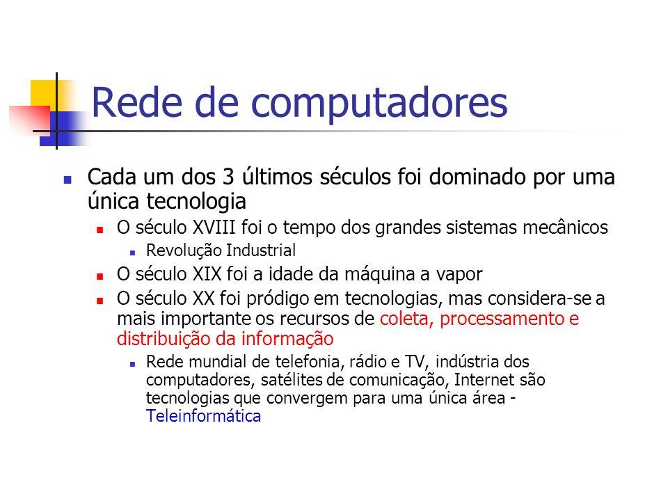 Rede de computadores Cada um dos 3 últimos séculos foi dominado por uma única tecnologia. O século XVIII foi o tempo dos grandes sistemas mecânicos.