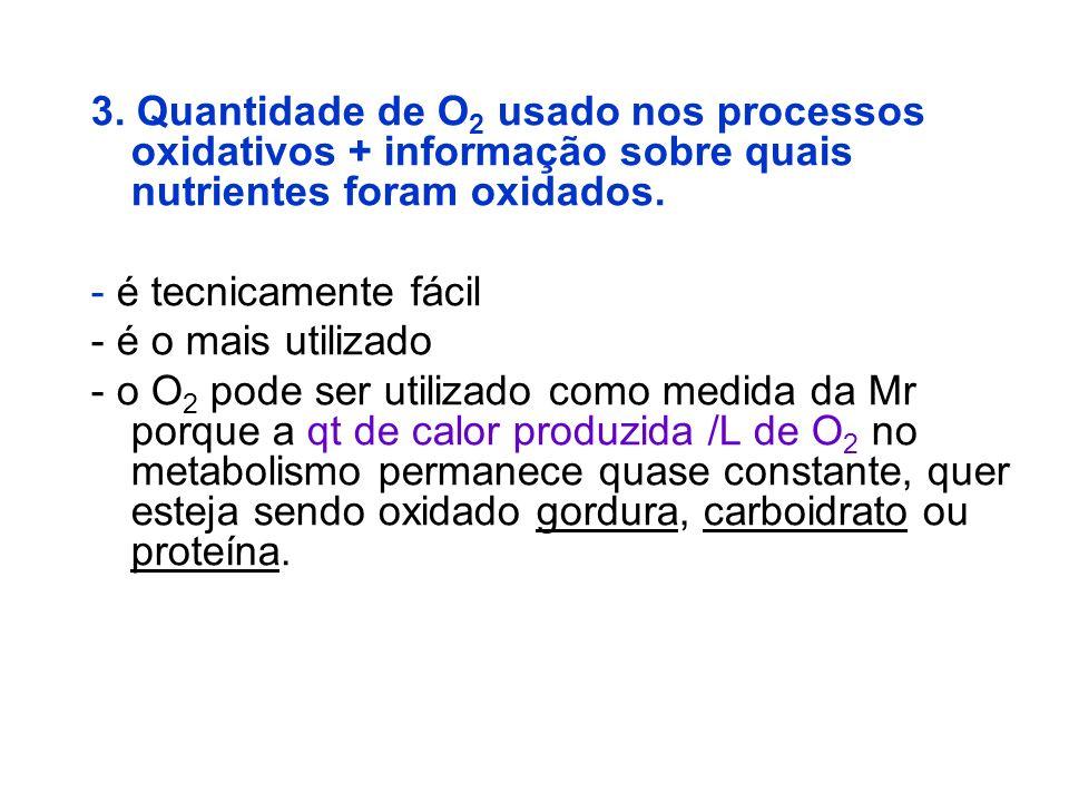 3. Quantidade de O2 usado nos processos oxidativos + informação sobre quais nutrientes foram oxidados.