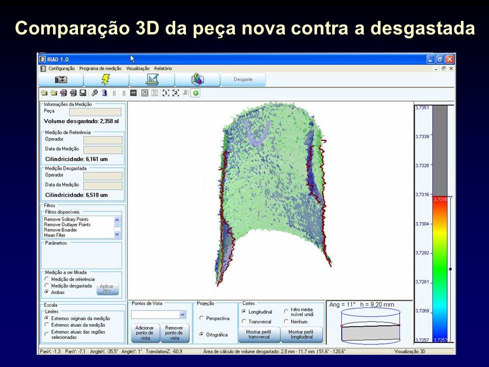 Comparação 3D da peça nova contra a desgastada