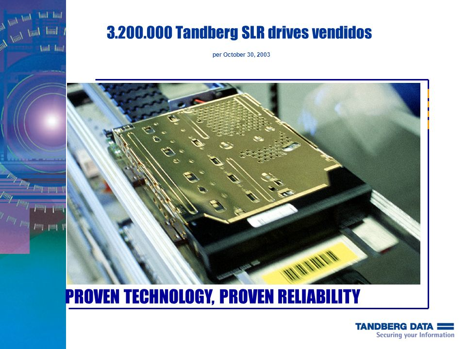 3.200.000 Tandberg SLR drives vendidos per October 30, 2003
