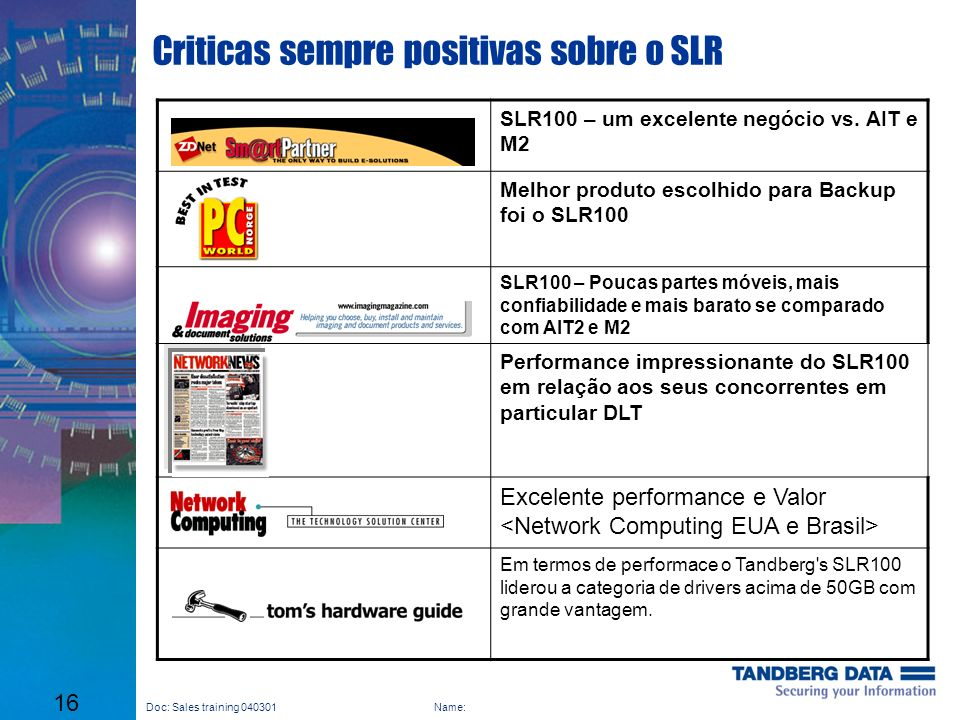 Criticas sempre positivas sobre o SLR