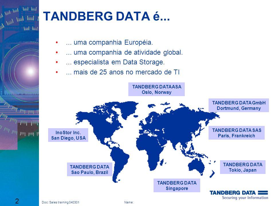 TANDBERG DATA é... ... uma companhia Européia.
