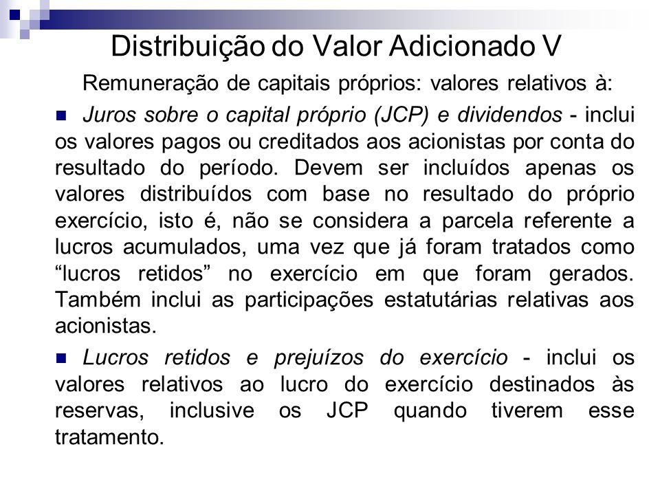 Distribuição do Valor Adicionado V