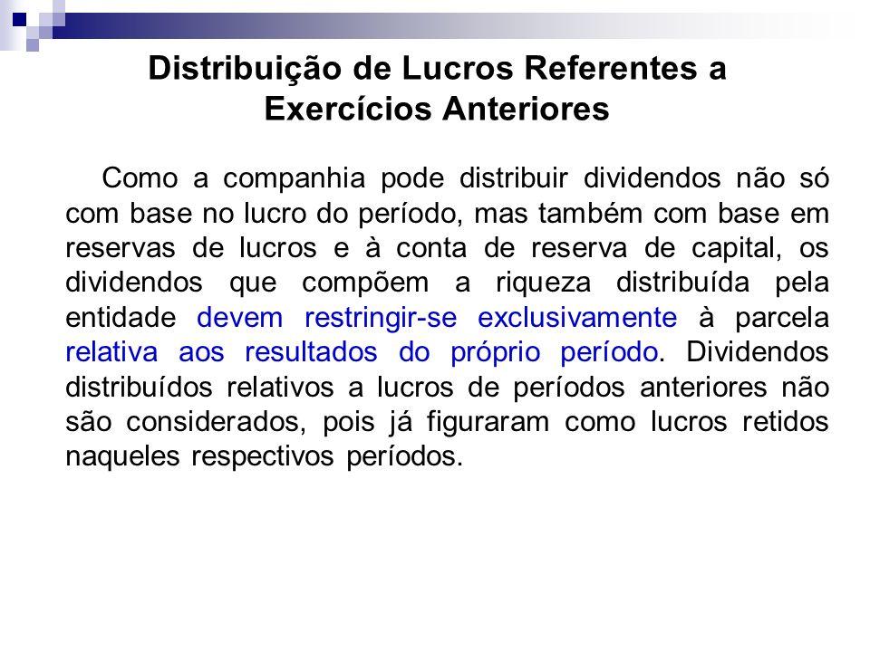 Distribuição de Lucros Referentes a Exercícios Anteriores