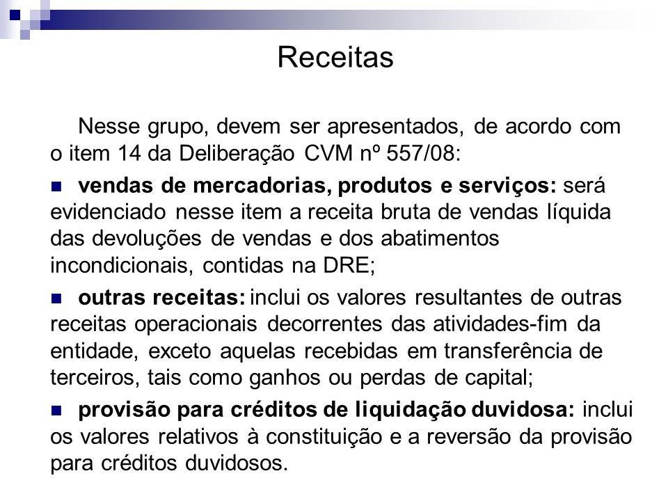 ReceitasNesse grupo, devem ser apresentados, de acordo com o item 14 da Deliberação CVM nº 557/08: