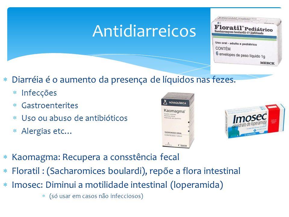 Antidiarreicos Diarréia é o aumento da presença de líquidos nas fezes.