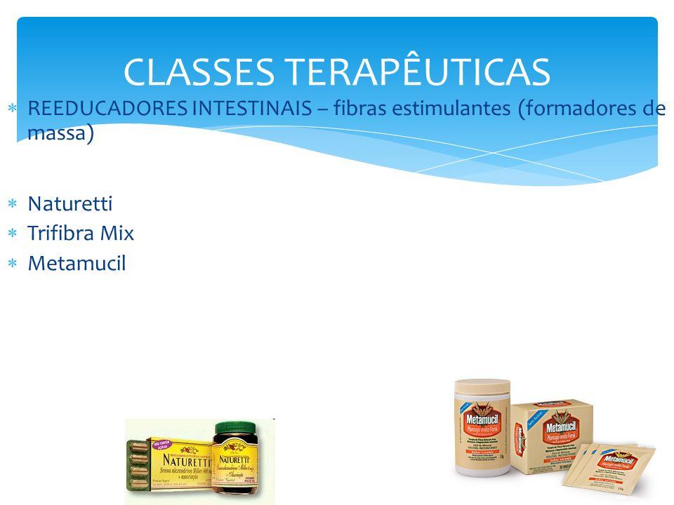 CLASSES TERAPÊUTICAS REEDUCADORES INTESTINAIS – fibras estimulantes (formadores de massa) Naturetti.