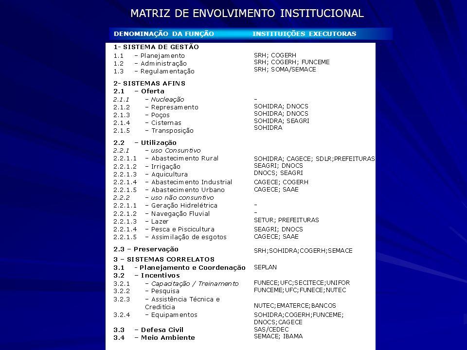 MATRIZ DE ENVOLVIMENTO INSTITUCIONAL
