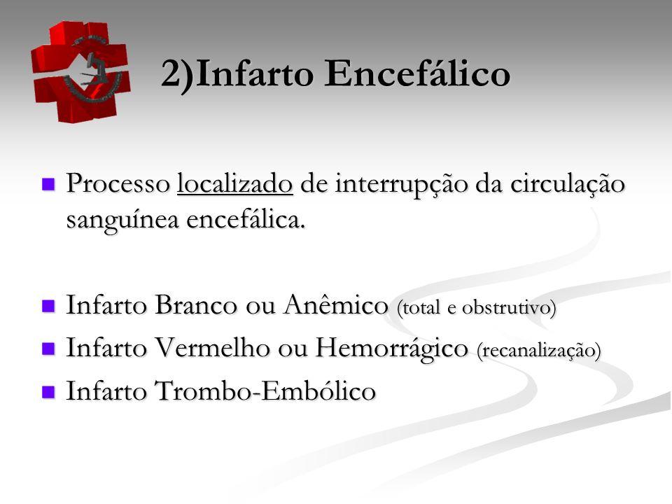 2)Infarto Encefálico Processo localizado de interrupção da circulação sanguínea encefálica. Infarto Branco ou Anêmico (total e obstrutivo)