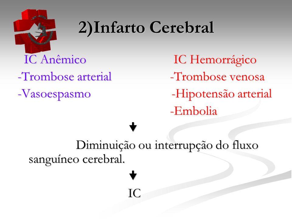 2)Infarto Cerebral IC Anêmico IC Hemorrágico