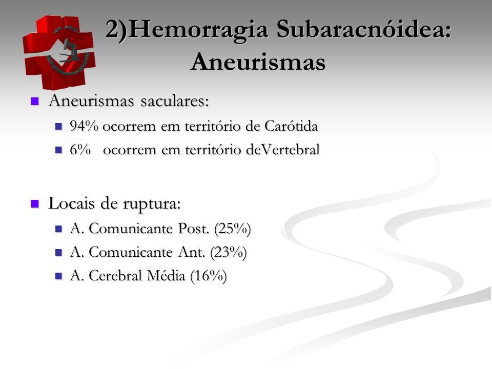 2)Hemorragia Subaracnóidea: Aneurismas