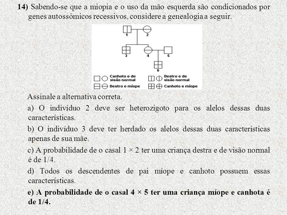 14) Sabendo-se que a miopia e o uso da mão esquerda são condicionados por genes autossômicos recessivos, considere a genealogia a seguir.