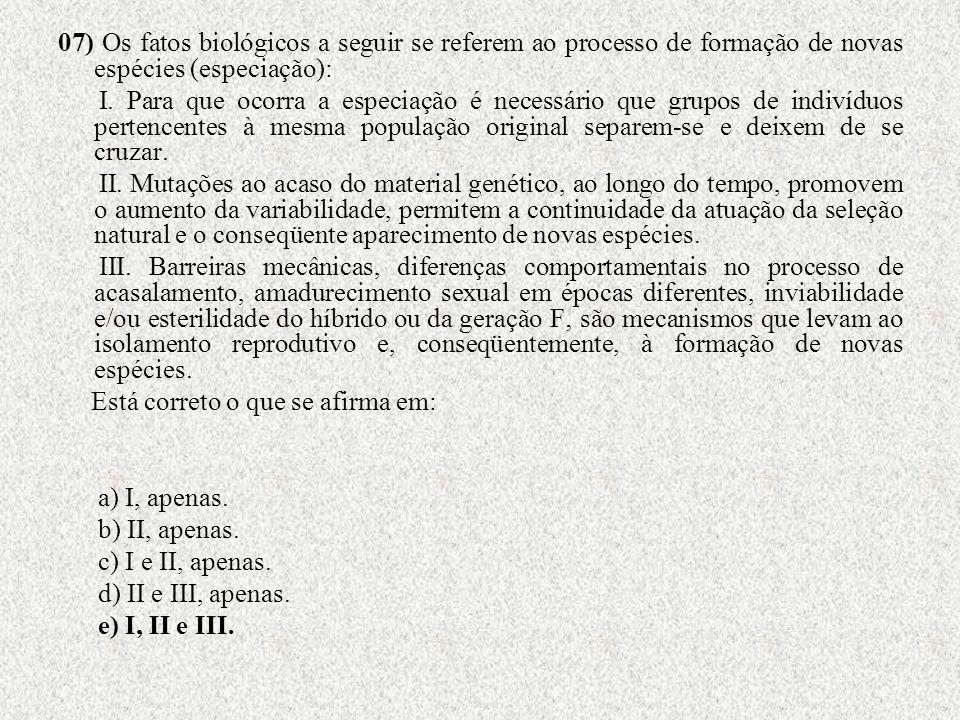 07) Os fatos biológicos a seguir se referem ao processo de formação de novas espécies (especiação):
