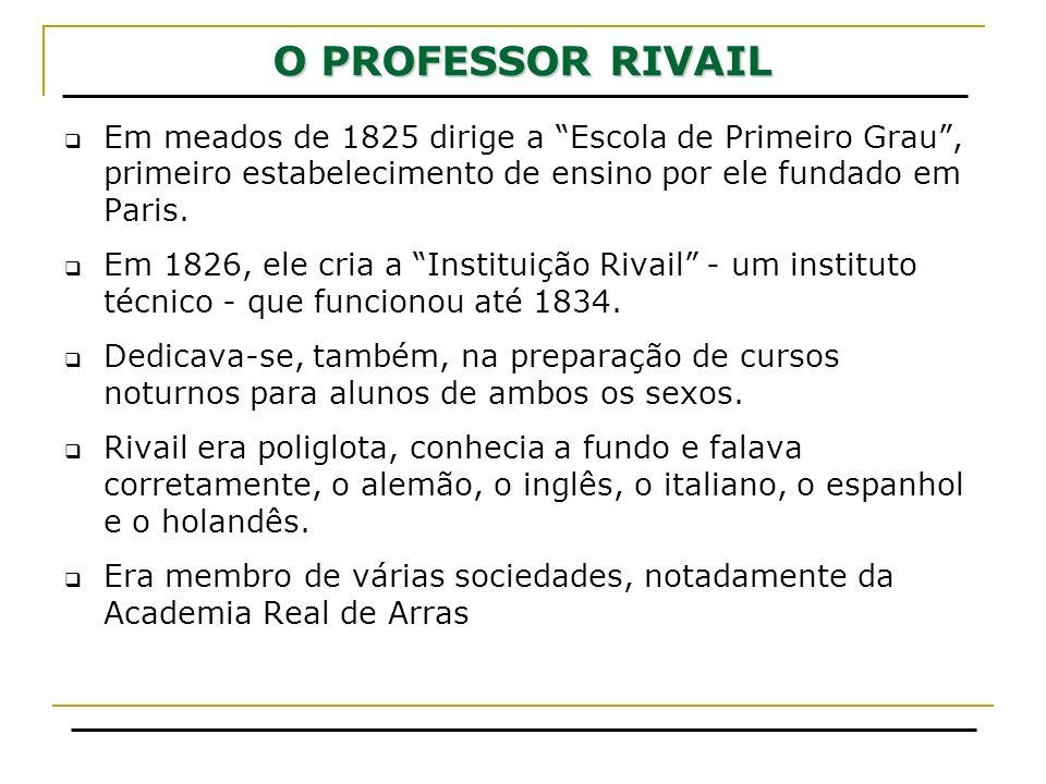 O PROFESSOR RIVAIL Em meados de 1825 dirige a Escola de Primeiro Grau , primeiro estabelecimento de ensino por ele fundado em Paris.