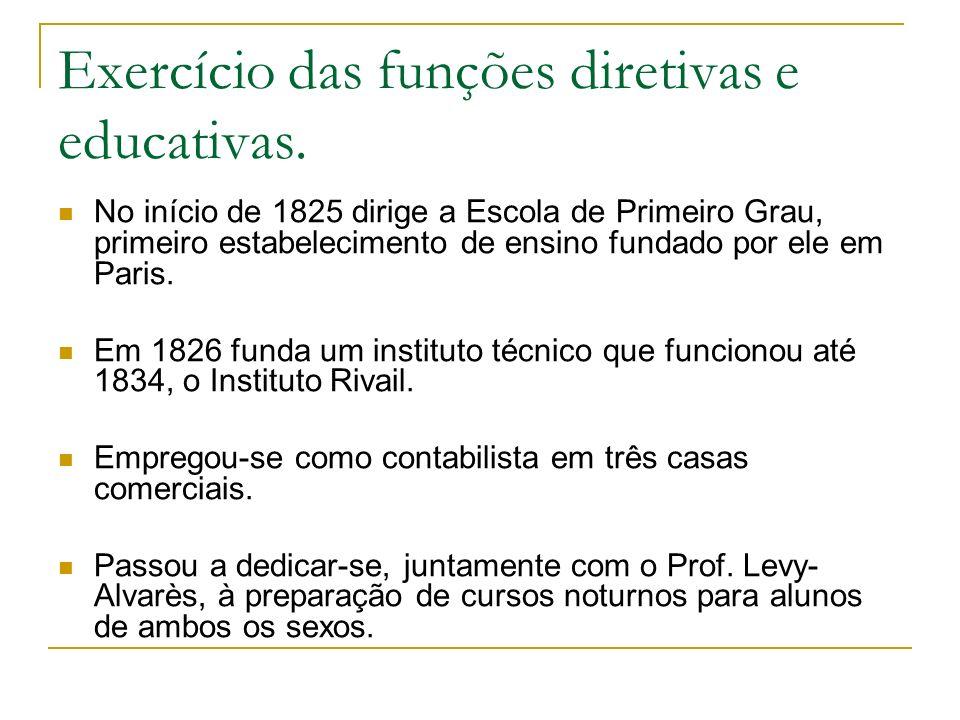 Exercício das funções diretivas e educativas.