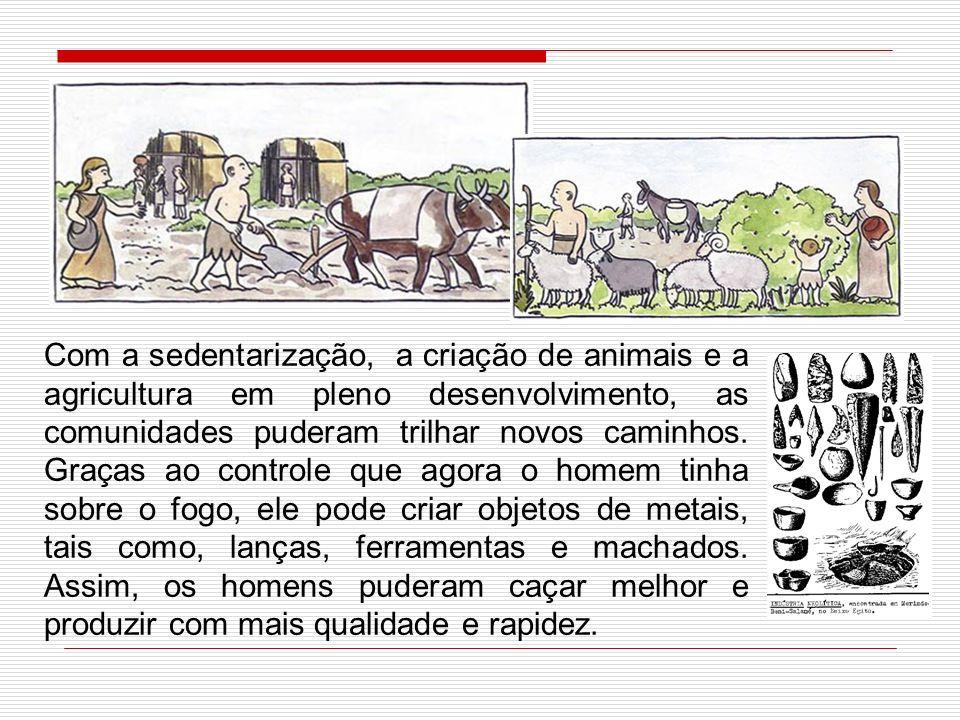 Com a sedentarização, a criação de animais e a agricultura em pleno desenvolvimento, as comunidades puderam trilhar novos caminhos.