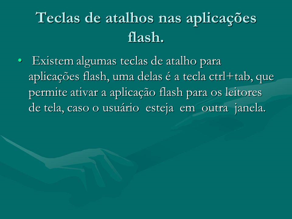 Teclas de atalhos nas aplicações flash.
