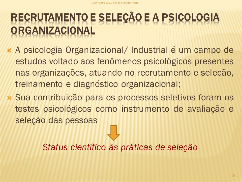 Recrutamento e seleção e a Psicologia Organizacional