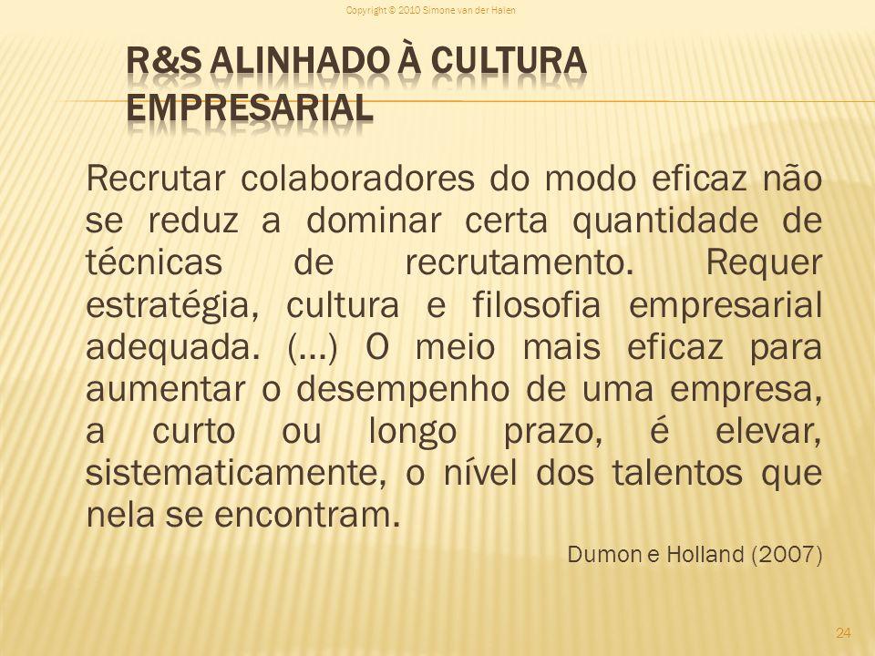 R&S alinhado à Cultura Empresarial
