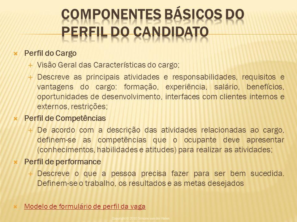 COMPONENTES BÁSICOS DO PERFIL DO CANDIDATO