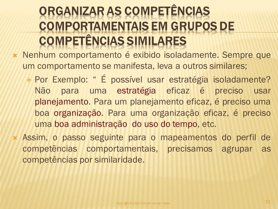 Organizar as competências comportamentais em grupos de Competências Similares