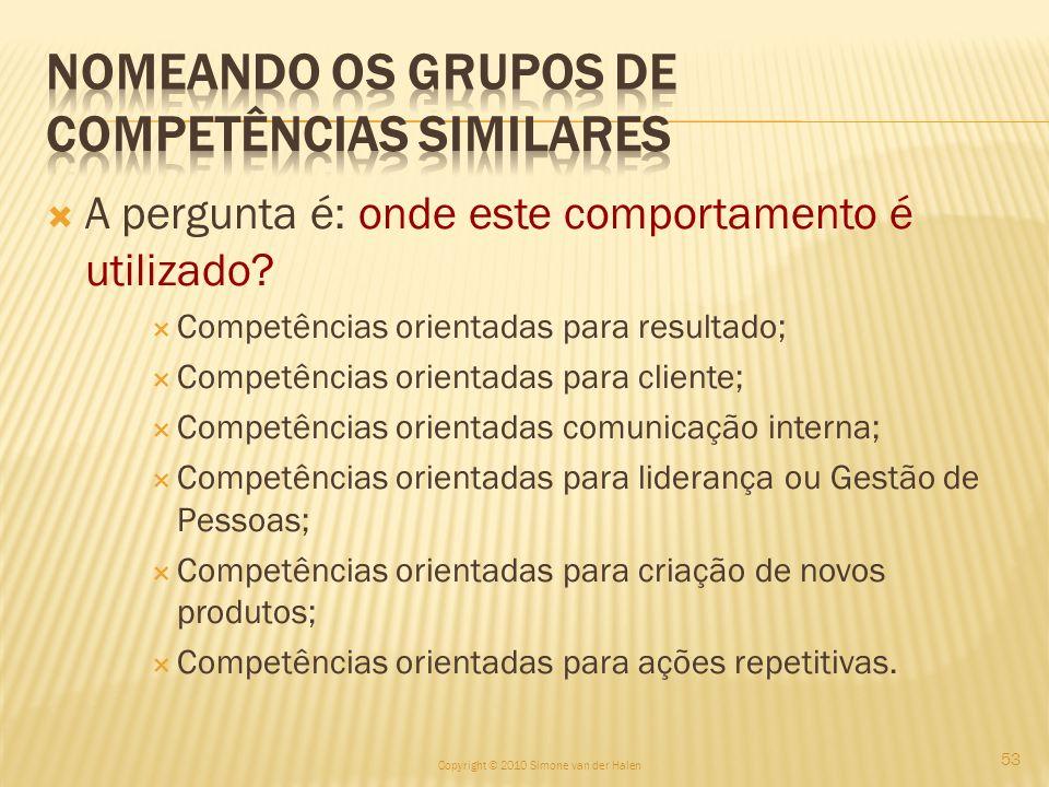 Nomeando os Grupos de Competências Similares
