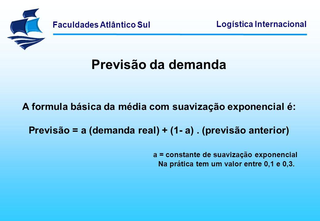Previsão da demanda A formula básica da média com suavização exponencial é: Previsão = a (demanda real) + (1- a) . (previsão anterior)