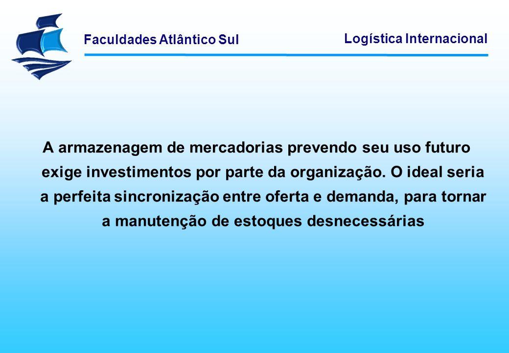 A armazenagem de mercadorias prevendo seu uso futuro exige investimentos por parte da organização.