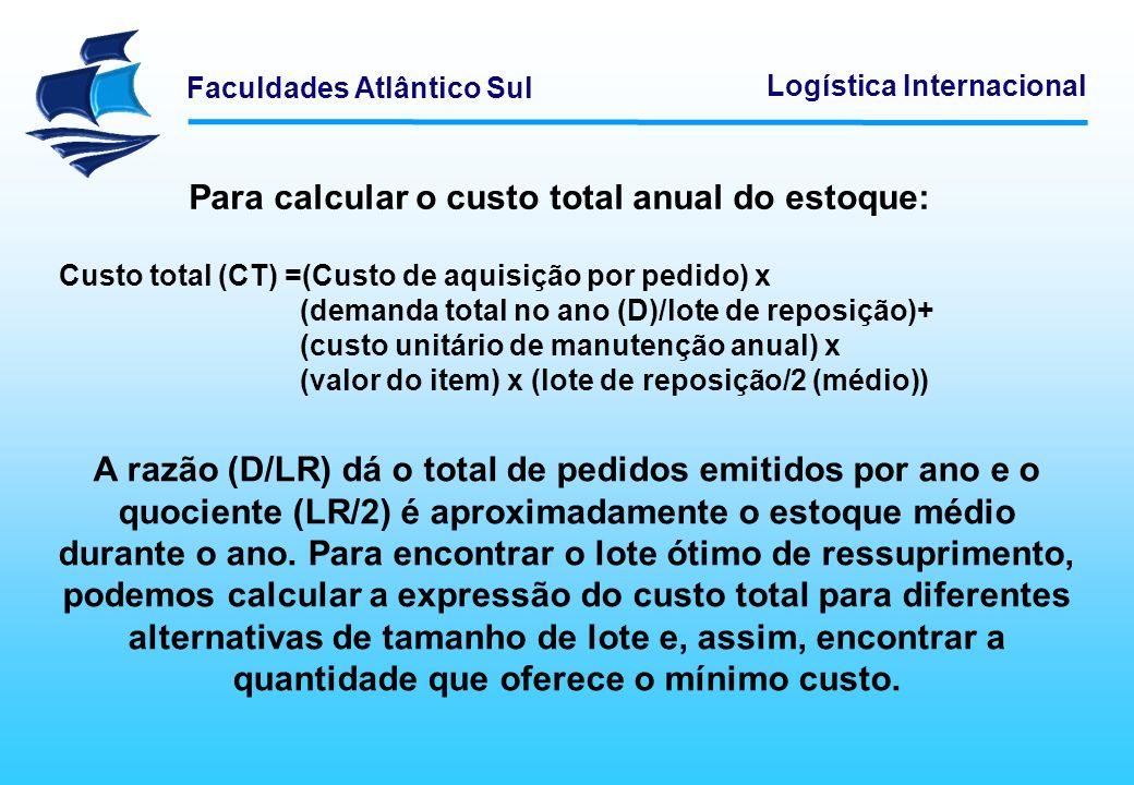 Para calcular o custo total anual do estoque: