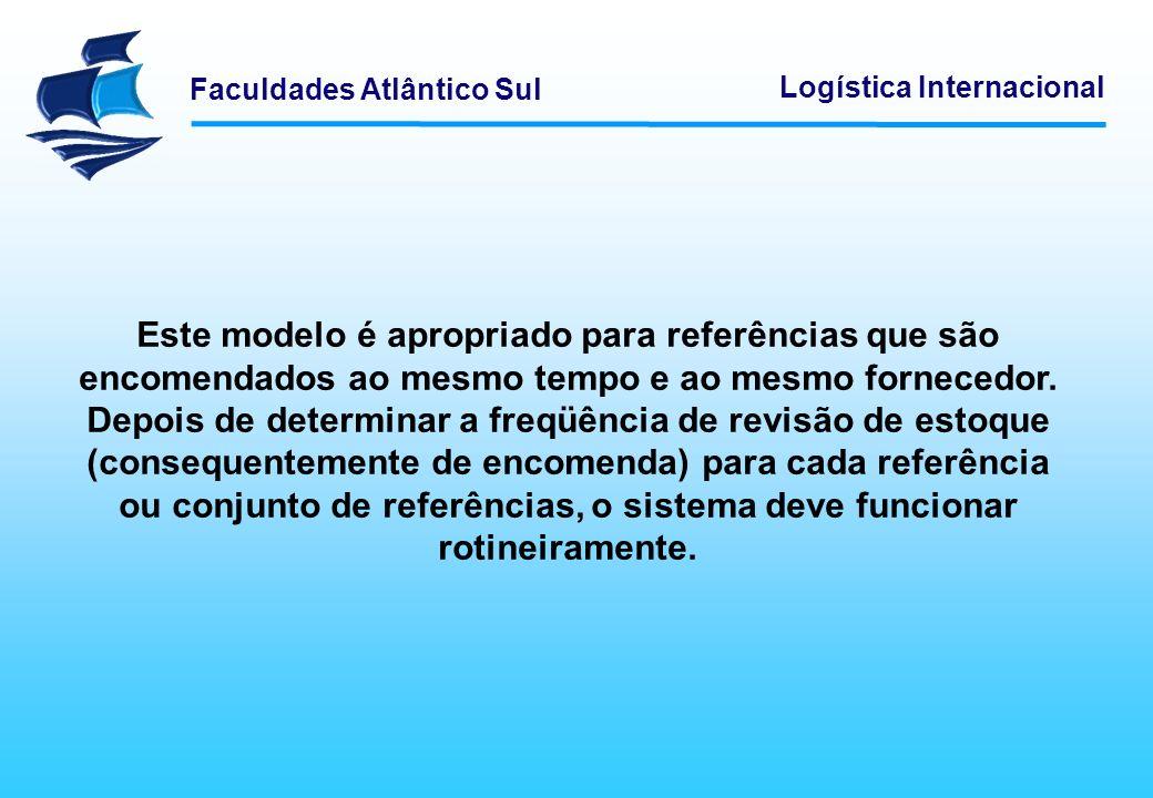 Este modelo é apropriado para referências que são encomendados ao mesmo tempo e ao mesmo fornecedor. Depois de determinar a freqüência de revisão de estoque (consequentemente de encomenda) para cada referência ou conjunto de referências, o sistema deve funcionar rotineiramente.