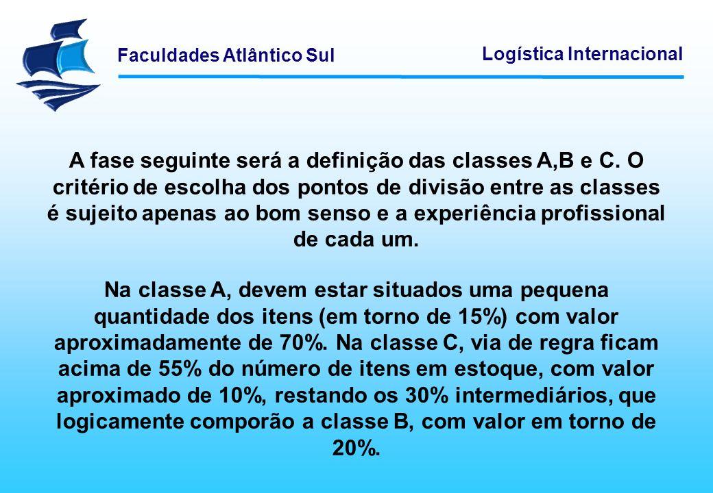 A fase seguinte será a definição das classes A,B e C