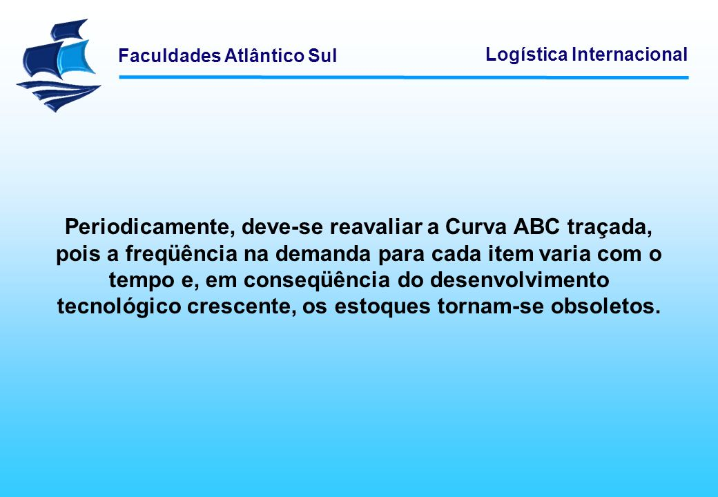Periodicamente, deve-se reavaliar a Curva ABC traçada, pois a freqüência na demanda para cada item varia com o tempo e, em conseqüência do desenvolvimento tecnológico crescente, os estoques tornam-se obsoletos.