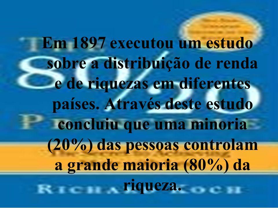 Em 1897 executou um estudo sobre a distribuição de renda e de riquezas em diferentes países.