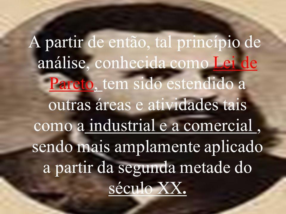 A partir de então, tal princípio de análise, conhecida como Lei de Pareto, tem sido estendido a outras áreas e atividades tais como a industrial e a comercial , sendo mais amplamente aplicado a partir da segunda metade do século XX.