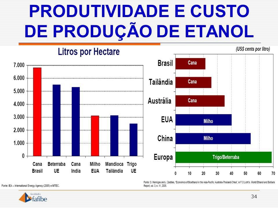 PRODUTIVIDADE E CUSTO DE PRODUÇÃO DE ETANOL