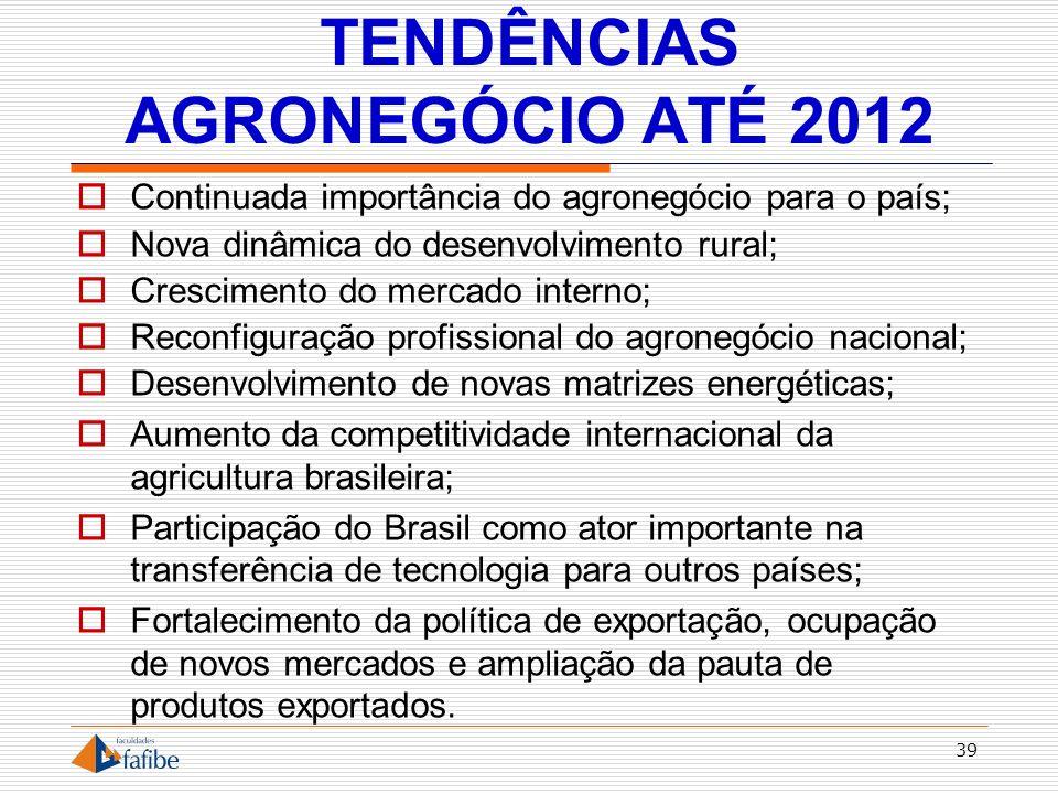 TENDÊNCIAS AGRONEGÓCIO ATÉ 2012
