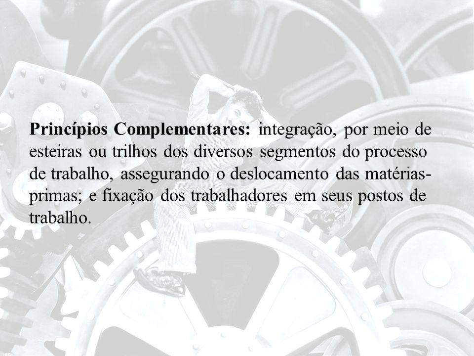 Princípios Complementares: integração, por meio de esteiras ou trilhos dos diversos segmentos do processo de trabalho, assegurando o deslocamento das matérias-primas; e fixação dos trabalhadores em seus postos de trabalho.