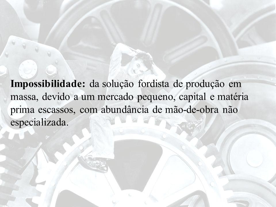 Impossibilidade: da solução fordista de produção em massa, devido a um mercado pequeno, capital e matéria prima escassos, com abundância de mão-de-obra não especializada.