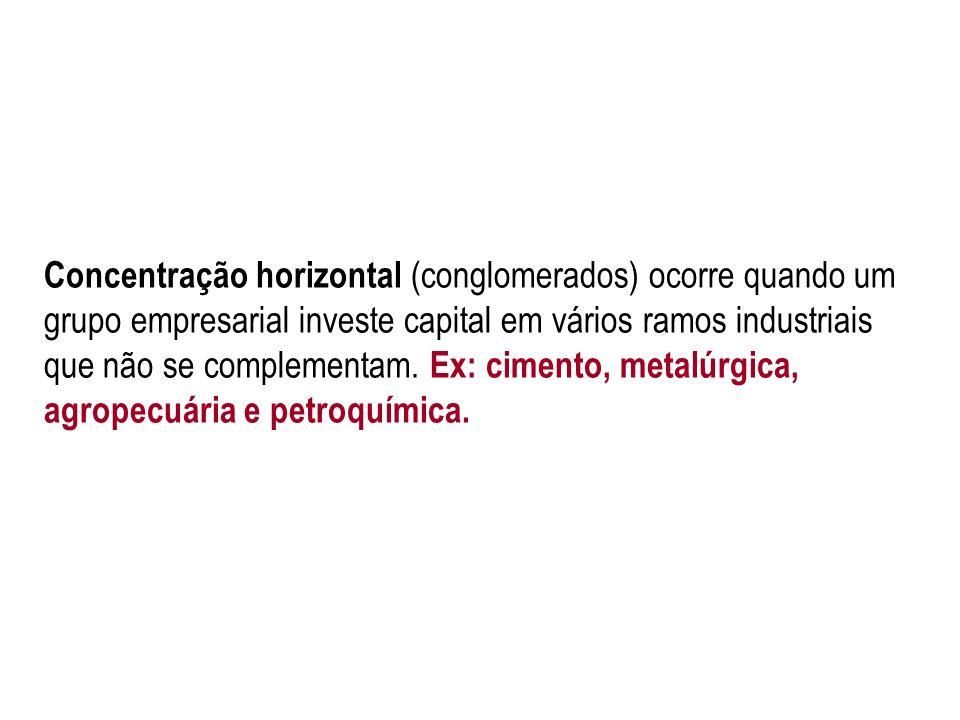 Concentração horizontal (conglomerados) ocorre quando um grupo empresarial investe capital em vários ramos industriais que não se complementam.