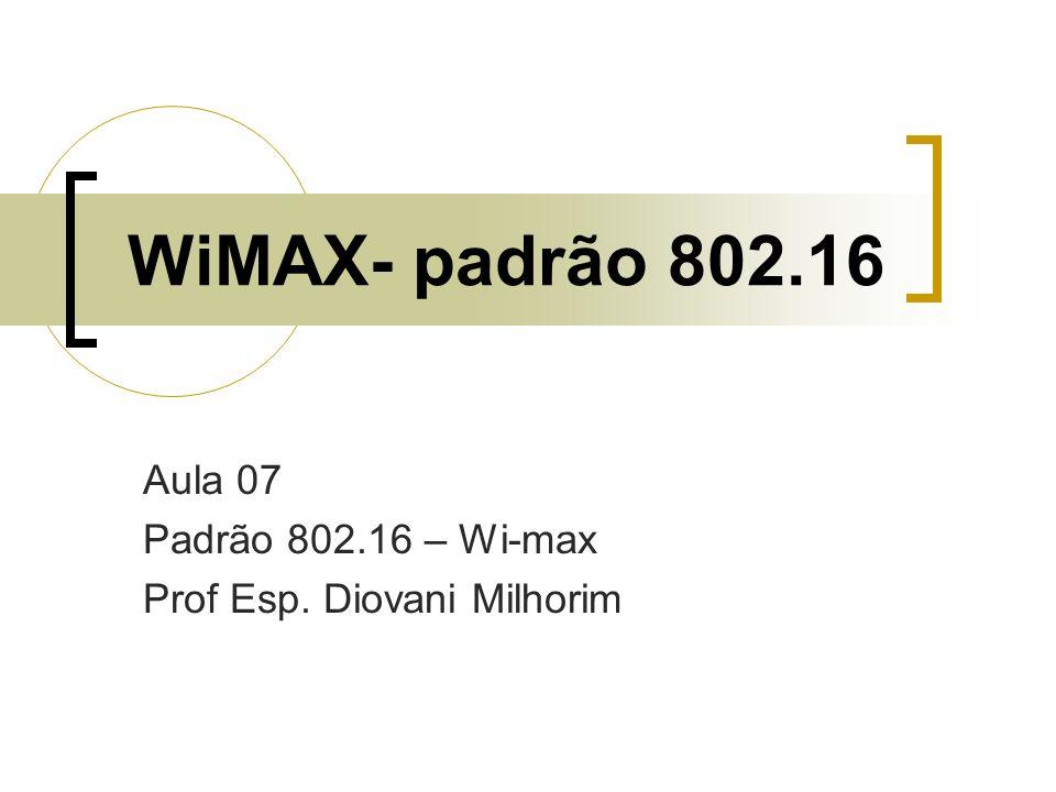 Aula 07 Padrão 802.16 – Wi-max Prof Esp. Diovani Milhorim