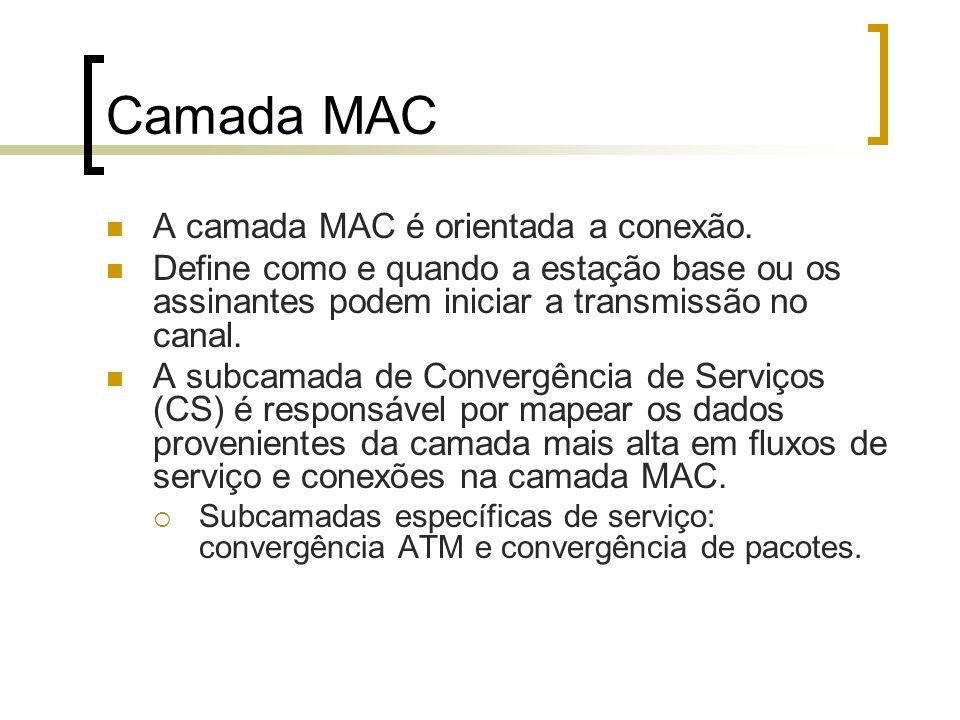 Camada MAC A camada MAC é orientada a conexão.