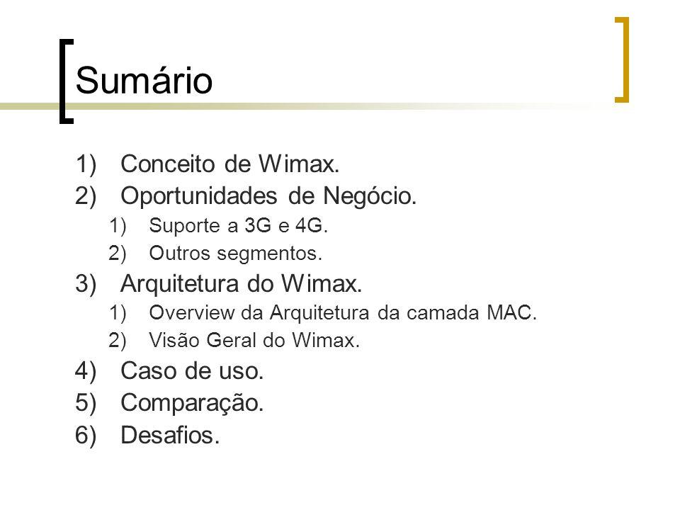 Sumário Conceito de Wimax. Oportunidades de Negócio.
