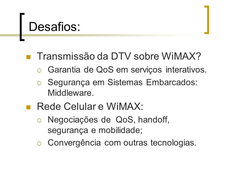 Desafios: Transmissão da DTV sobre WiMAX Rede Celular e WiMAX: