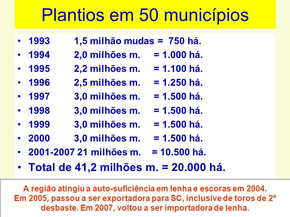 Plantios em 50 municípios
