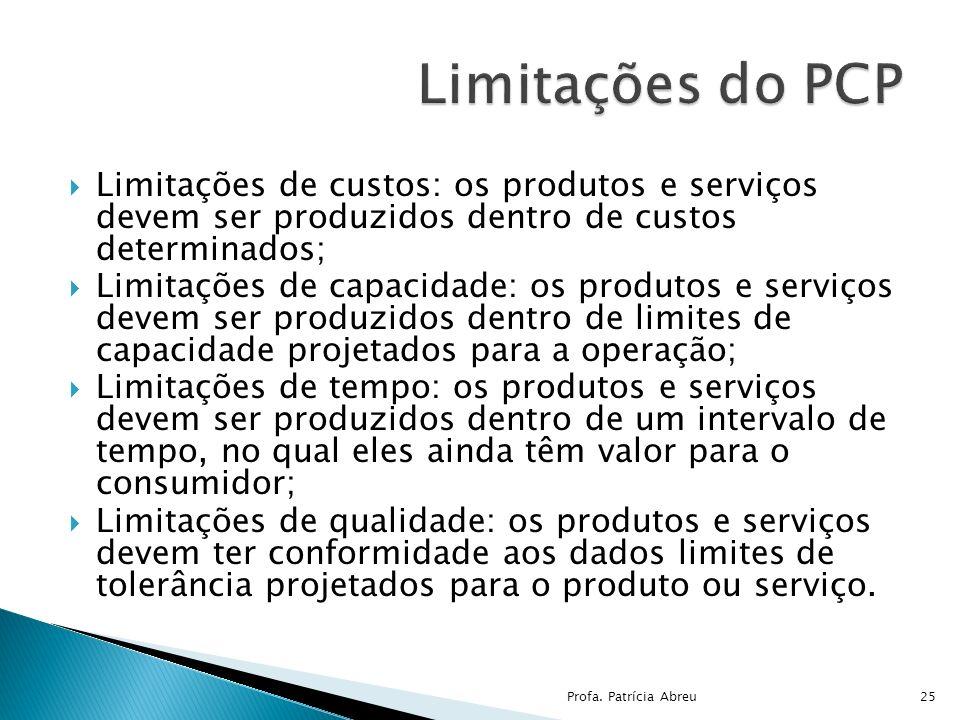 Limitações do PCP Limitações de custos: os produtos e serviços devem ser produzidos dentro de custos determinados;
