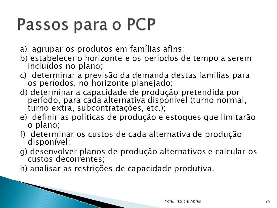 Passos para o PCP a) agrupar os produtos em famílias afins;