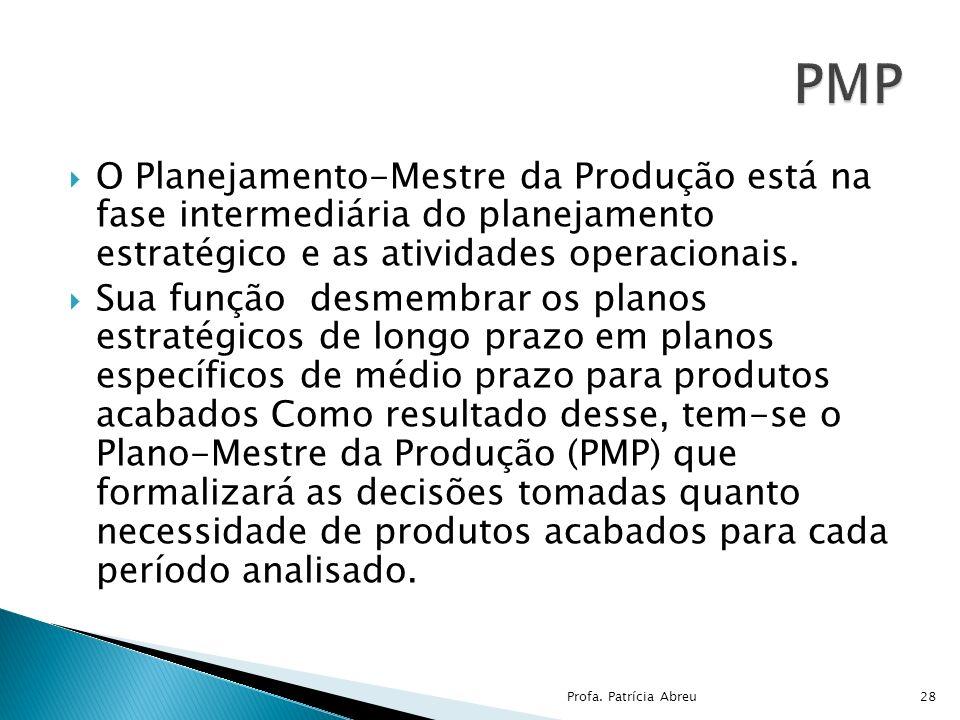 PMP O Planejamento-Mestre da Produção está na fase intermediária do planejamento estratégico e as atividades operacionais.