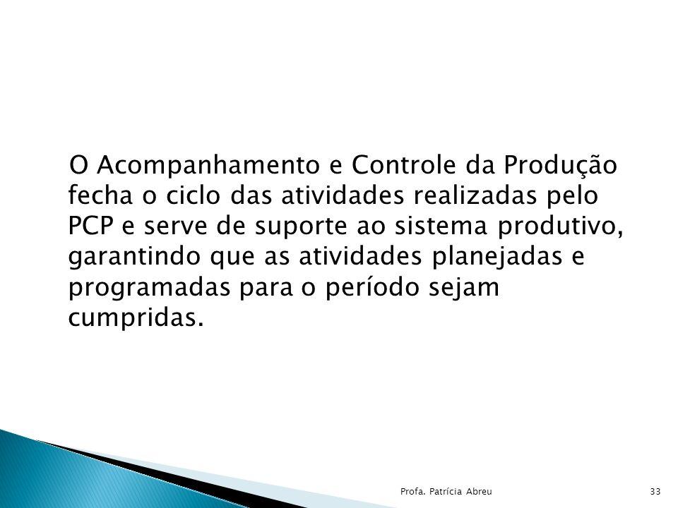 O Acompanhamento e Controle da Produção fecha o ciclo das atividades realizadas pelo PCP e serve de suporte ao sistema produtivo, garantindo que as atividades planejadas e programadas para o período sejam cumpridas.
